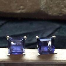 Natural Princess Cut 2ct Iolite 925 Solid Sterling Silver Stud Earrings 5mm