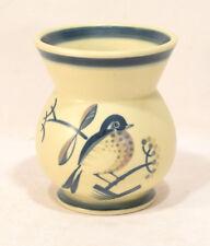 Aluminia Faience Denmark Art Deco Vase w/ Handpainted Bird & Branches