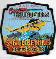 """*NEW*  Carson Helo's  """"S-61 Fire King"""", Grants Pass, OR  (4"""" x 4"""") fire patch"""