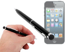 Black 2 Way Stylus Pen For Apple iPhone 5 Rubber Tip & Handwriting Ball Point!