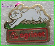 Pin's AGRINET Un petit lapin blanc qui court Rabbit #1861