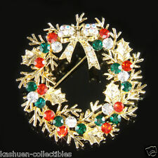 ~Gold Holly Wreath made with Swarovski Crystal Merry Xmas bow Holiday Pin BROOCH
