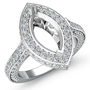 Diamond Engagement Filigree Ring Marquise Semi Mount Halo Pave Platinum 1.6Ct