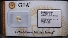 Gia Cert 0,61 CT cojín Corte Diamante Natural Fantasia Luz Amarillo Si-2 Sellado.