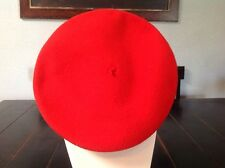 Vintage French Beret Pierre Laulhere Red Campus With Bill 100% Wool