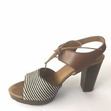 madewell shoes 7.5 Leather Sandals Lace Up Stripe Calf Hair Stacked Heel Womens