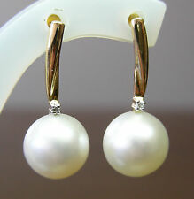 11.5mm!! WHITE SOUTH SEA PEARLS +DIAMONDS +18ct SOLID YELLOW GOLD EARRINGS +CERT