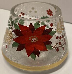 Yankee Candle Christmas Crackle Glass Poinsettia Small Jar Shade