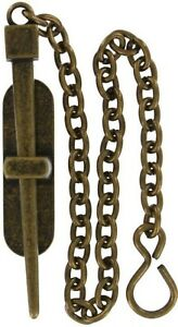 ANTIQUE BRASS Pin Clasp chain latch lock stake rod door cabinet rustic dowel NEW