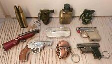 LOTTO 10 ACCENDINI ARMI GUNS PISTOLE BOMBE-LIGHTER-MECHERO-BRIQUET-FEUERZEUG
