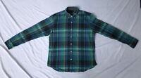 J Crew Mens Plaid Shirt XL Button Up Long Sleeve Green, Blue And Black X Large
