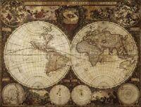 "Vintage Old World Map nova totius terrarum CANVAS PRINT poster 24""X16"""
