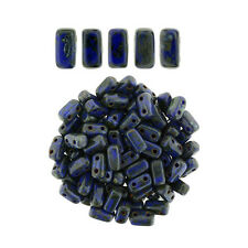50 CzechMates Bricks Indigo Picasso Two Hole Beads 3x6mm