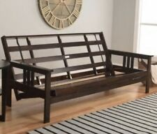 Espresso Wood Full Size Futon Frame Wooden Bed Futons Furniture ( Frame ONLY )