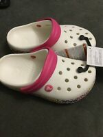 KIDS JUNIOR GIRLS GENUINE CROCS CROCBAND II SANDALS SOYSTER WHITE PINK UK J 2