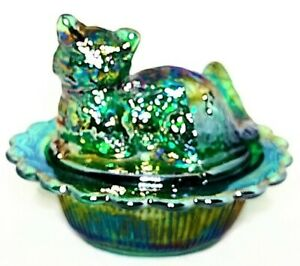 Mosser Green Iridescent Carnival Glass Sitting Cat Salt Cellar Dip W/Spoon VTG.