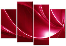LARGE RED ABSTRACT SPLIT CANVAS ART WALL PICTURE SPLIT MULTI 4 PANEL 100 cm