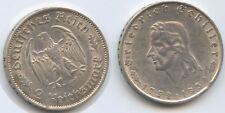 G10217 - Drittes Reich 2 Reichsmark 1934 F KM#84 Friedrich von Schiller RAR