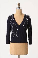 Anthropologie RARE Moth Kites & Constellations Stars Blue Wool Retro Cardigan S