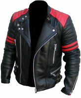 Men's Brando Classic Biker Red and Black Vintage Motorcycle Real Leather Jacket