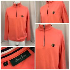 "Bobby Jones Golf Sweater L Pink 1/4 Zip 100% Cotton ""Old Warson"" EUC YGI T9-281"