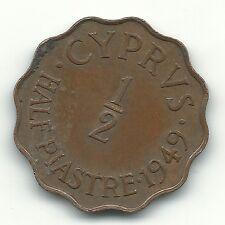 VERY NICE HIGH GRADE 1949 CYPRUS 1/2 PIASTRE COIN-NOV595