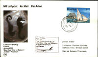 LUFTHANSA 1st flight 1984 MAURITIUS Dar Es Salaam Jeddah Stempel Port Louis