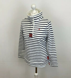 Joules Cowdray Jumper White Navy Blue Striped Sz Large Ladies