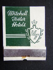 MITCHELL FOSTER HOTELS OTTUMWA IOWA BEST IN THE FRIENDLY MIDWEST MATCHBOOK