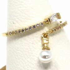 Classic White Pearl Diamond Pave Ring Fine Jewelry 14K Yellow Gold Plate Sizable