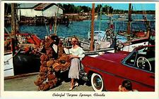 TARPON SPRINGS, FL Florida  HOT BLONDE Checks Out Sponges  c1950s Convertible