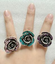 2pcs Rose Flower Big Vintage Rings For Women silver Retro Crystal Rhinestone