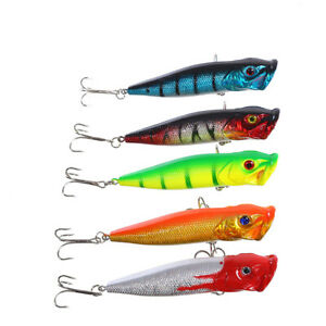 Floating Topwater Popper Poper Fishing Artificial Lures with Hooks Hard Bait
