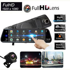 10 Inch Touch Dual Channels 1080p Rearview Mirror Dash Cam Driving Recorder WDR