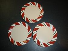 Longaberger Christmas Pottery Peppermint Twist Coasters set of 3