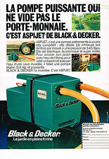 PUBLICITE ADVERTISING 104  1982  BLACK & DECKER   pompe ASPI-JET
