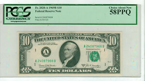 PCGS 58 PPQ $10.00 1969B Federal Reserve Note FR 2020 A