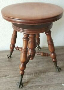 Antique Swivel Wood Piano Stool Claw Foot Glass Ball Feet Vtg Victorian Decor