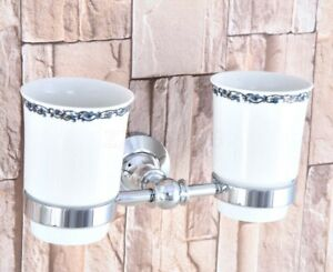 Polished Chrome Wall Mounted Bathroom Toothbrush Holders Dual Ceramic Cup Zba796