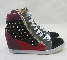 "black/multi spikes  3""hidden wedge heel  lace up  ankle boots Size 8.5"
