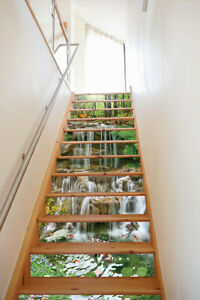 Waterfall and Stream Lotus Self-adhesive Stair Rise Stickers Stair Stickers