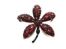 Gorgeous Vintage BSK Designer Signed Garnet Flower Pin/Brooch