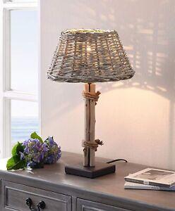 """Tischleuchte """"Treibholz """"mit Schirm aus Weide, Nacht Tisch Lampe Flecht Leuchte"""