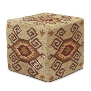 Handwoven Ottoman Floor Pouf Kilim Vintage Geometric Wool Jute Sitting Footstool