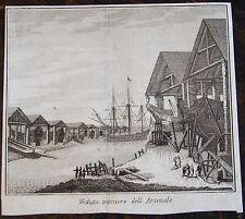 ZUCCHI FRANCESCO : Veduta interiore dell Arsenale. Gravure originale de 1740 , d