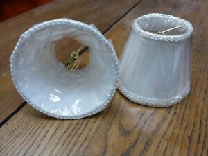 """Sconce CHANDELIER Clip On LAMP SHADE WHITE TRIM lined New old stock 1 shade 5"""""""