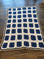 Granny Square Afghan Blanket Throw Blue White Brown Retro Beautiful