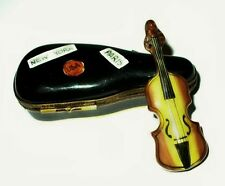 LIMOGES BOX - PARRY-VIEILLE - CASE & VIOLIN - PARIS & NEW YORK LABELS - MUSIC
