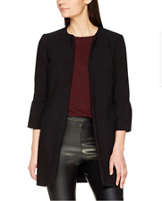 New Look Womens Black Collarless Crepe Frill Sleeve Smart Jacket Size 12  RRP£40