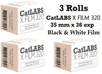 3 Rolls CatLABS X 320 B&W 35mm x 36 Film ISO 320 Black and White